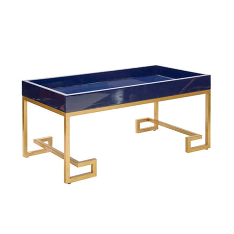 Worlds Away Conrad Navy Lacquer Tray with Gold Leafed Greek Key Base