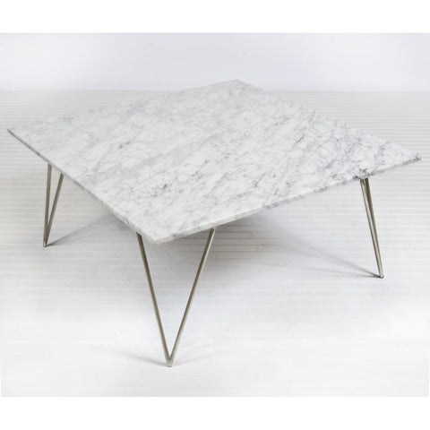 Worlds Away Neal Silver Leaf And White Mable Coffee Table