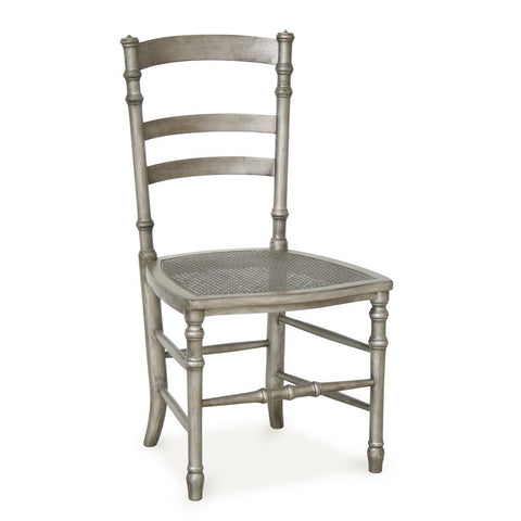 Redford House Swedish Cane Side Chair in Tarnished Silver