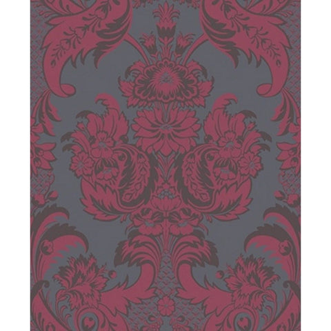 Cole And Son Wyndham Wallpaper in Red/Slate
