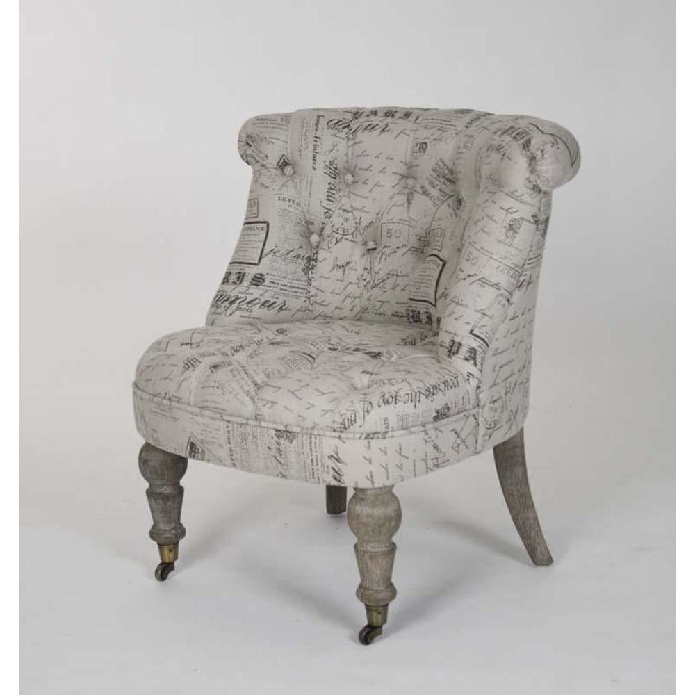 Zentique Amelie Slipper Chair in Natural Print