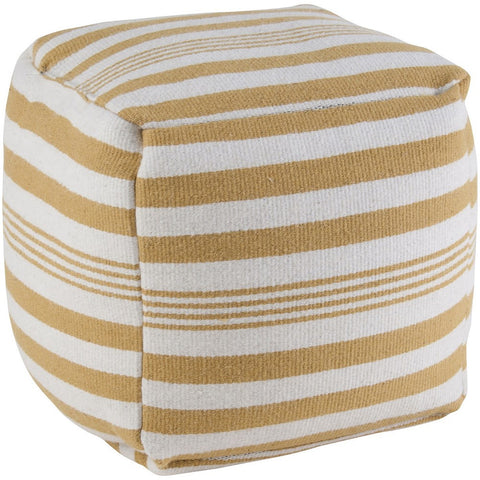 Pouf in Yellow and White Stripe