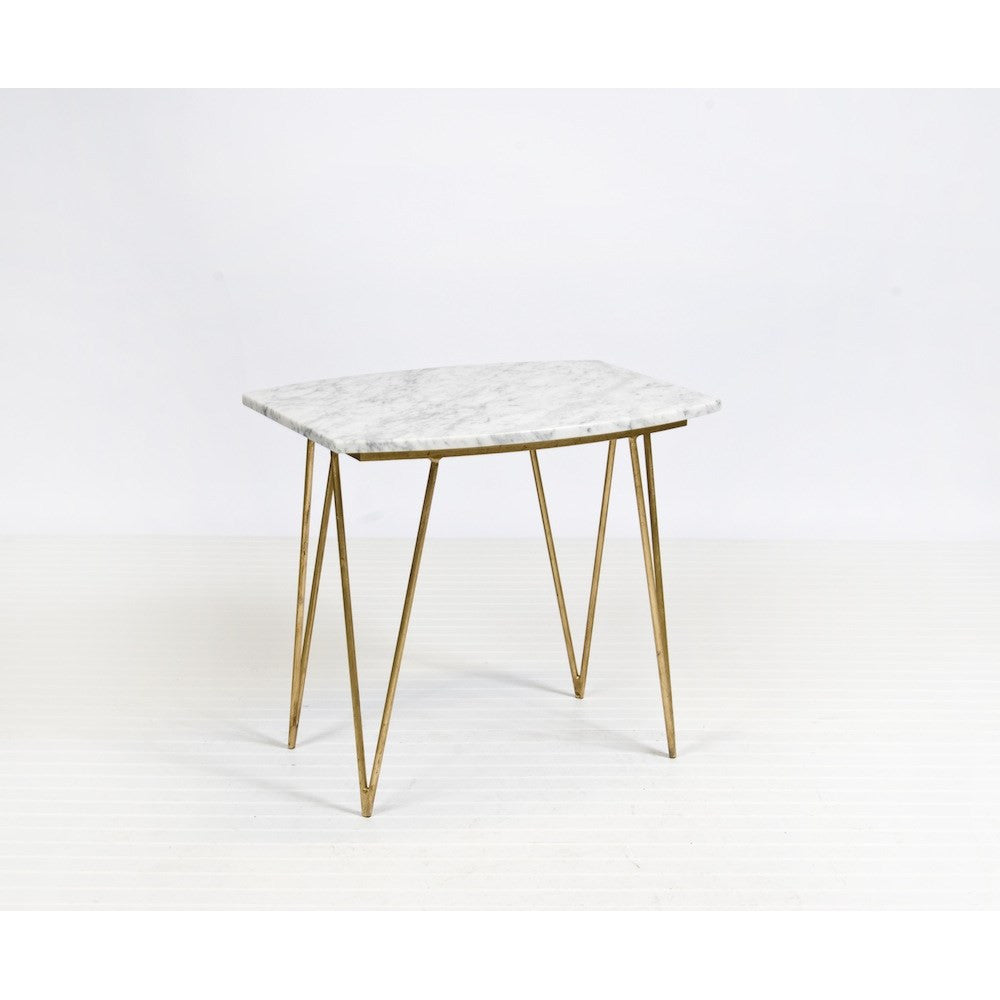 Worlds Away Suzy Gold Leaf And White Marble Side Table