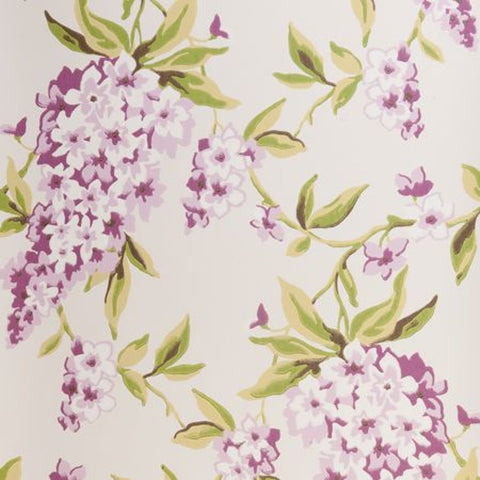 Clarke & Clarke Wisteria Double Roll Wallpaper in Mauve