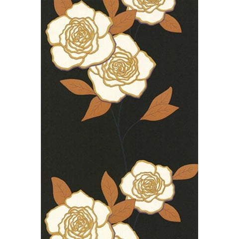 Cole And Son Paper Rose Wallpaper in Onyx