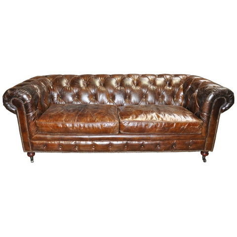 Noir 3 Seater Tufted Sofa, Brown Vintage Leather