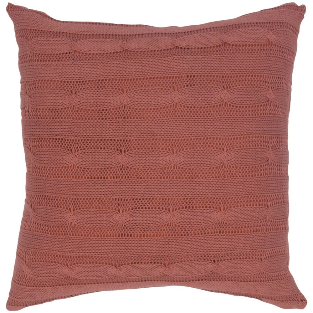Cable Knit Pillow with Wooden Button Closure and Poly Filler Insert in Paprika