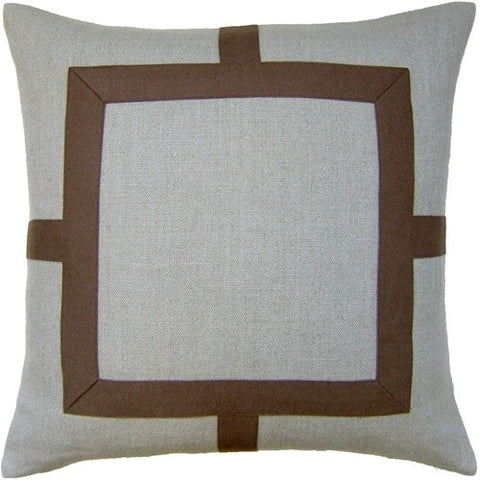 "Ryan Studio Squared Fretwork 20"" Pillow In Linen/Nevada Tobacco"