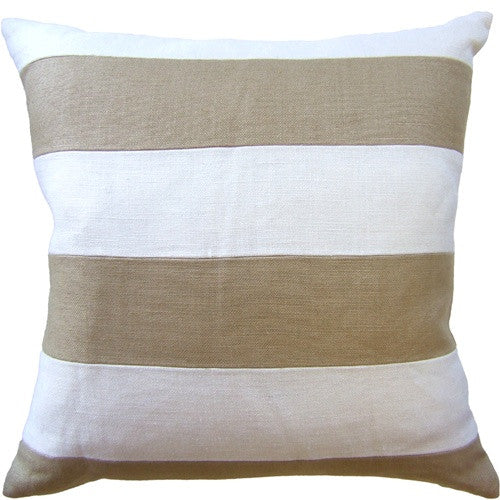 "Ryan Studio Slubby Linen Stripe 22"" Pillow In Ivory/Straw"