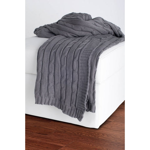 Rizzy Home Throw in Light Gray