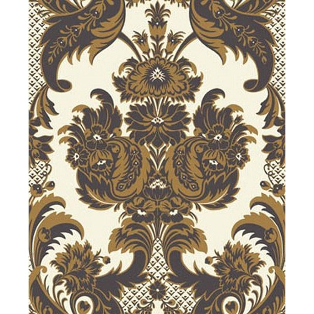 Cole And Son Wyndham Wallpaper in Black/Gold