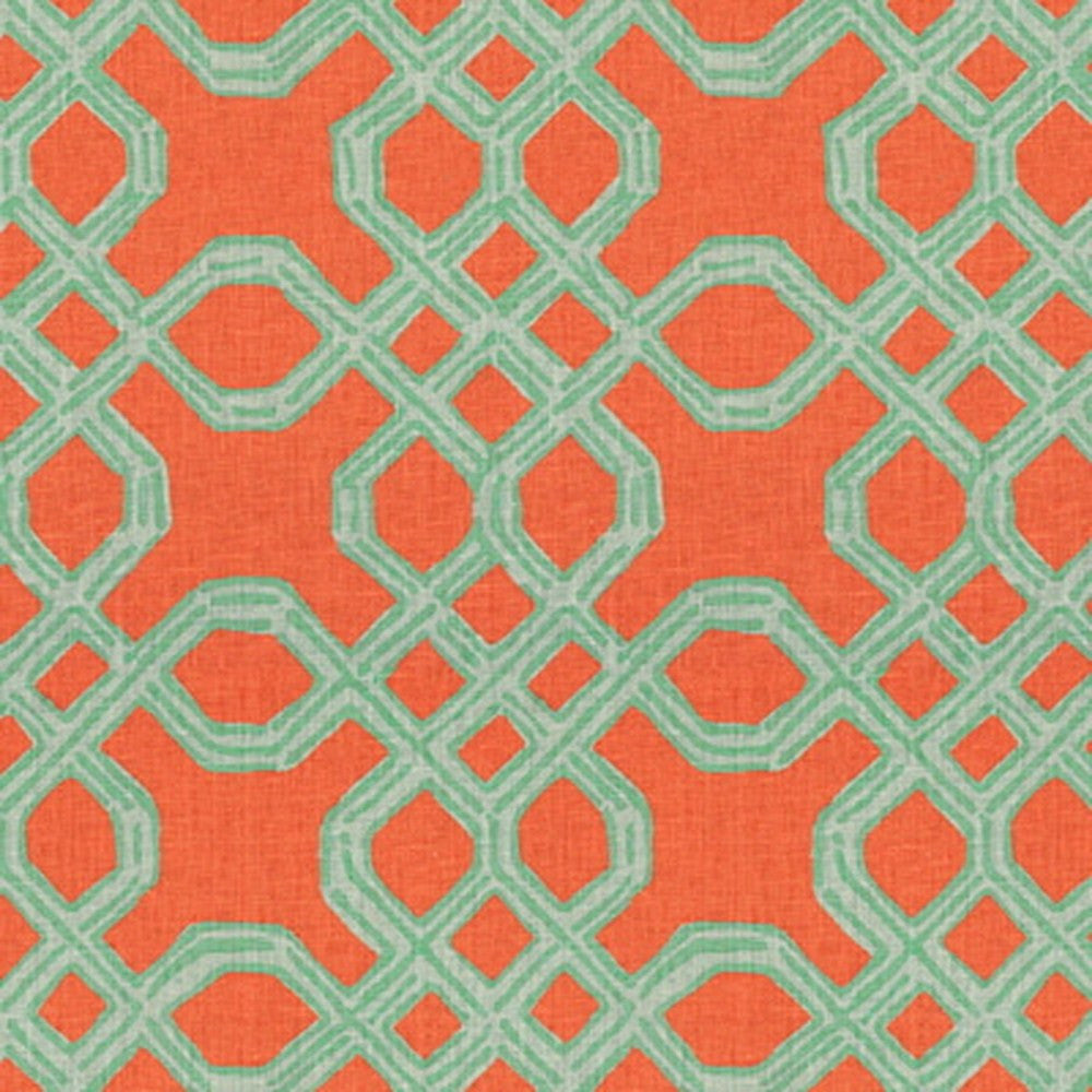 Kravet Fabric by the Yard:  Well Connected in Aqua/Orange