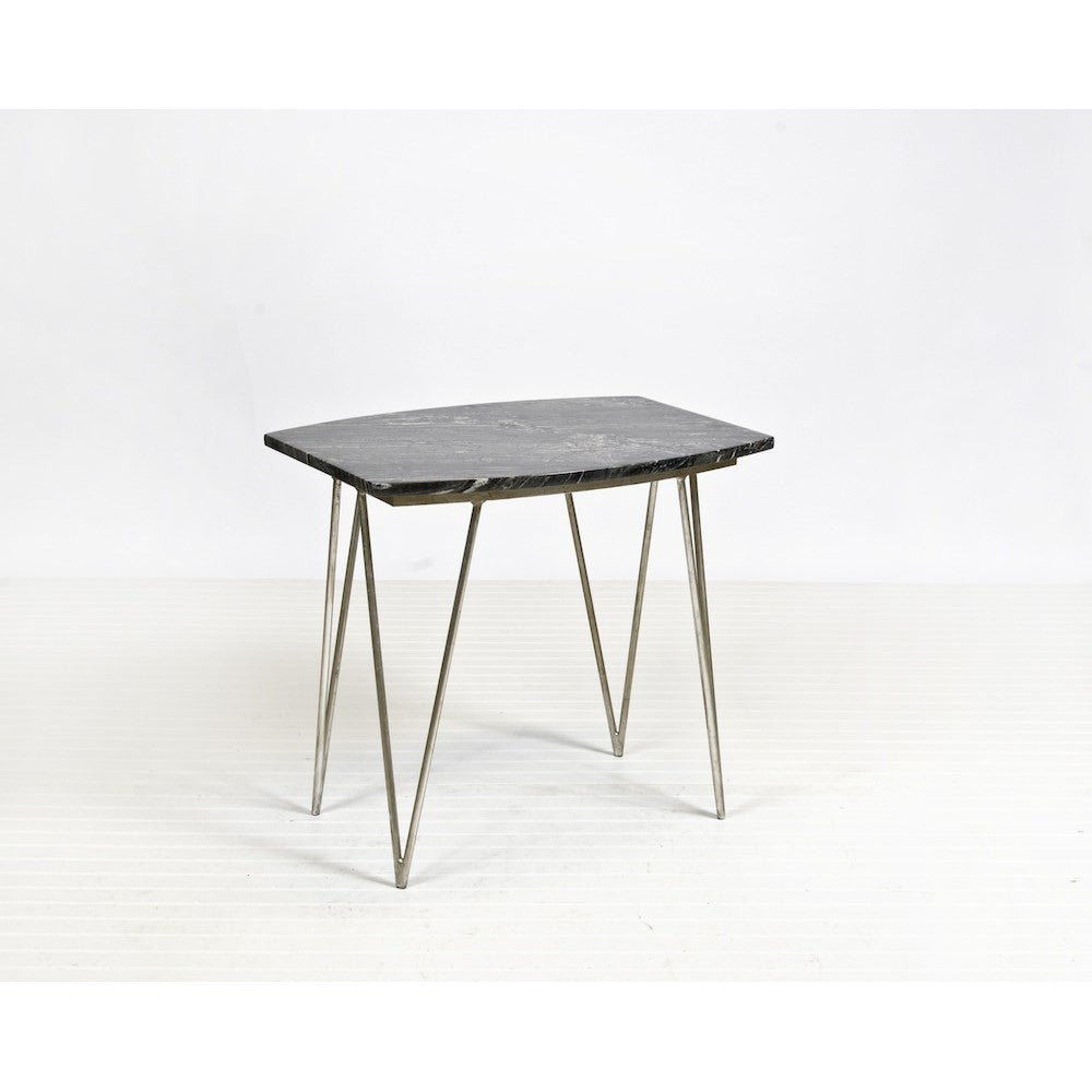 Worlds Away Suzy Silver Leaf And Black Marble Side Table