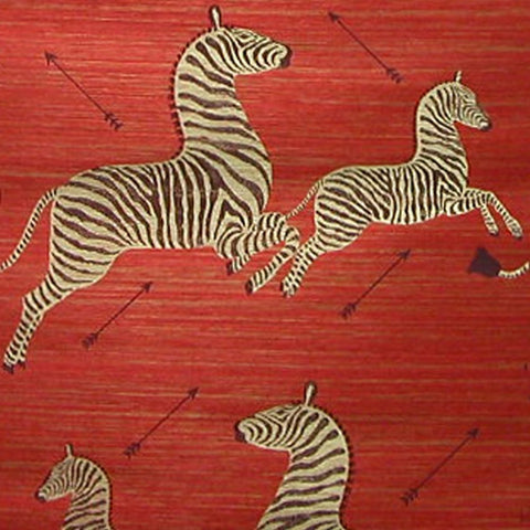 Scalamandre Zebra Grasscloth in Red