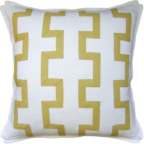 "Ryan Studio Trellis Fretwork 22"" Pillow In Ivory/Nevada Citron"