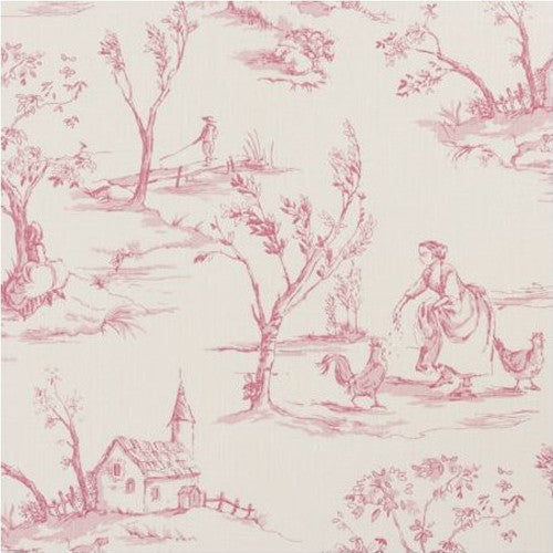 Clarke & Clarke Fabric by the Yard:  Helena in Raspberry