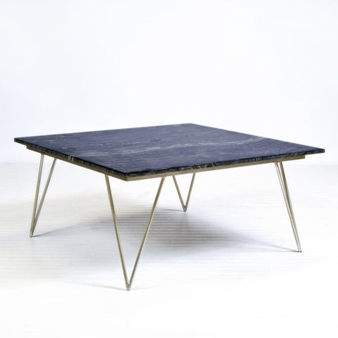 Worlds Away Neal Silver Leaf And Black Marble Coffee Table