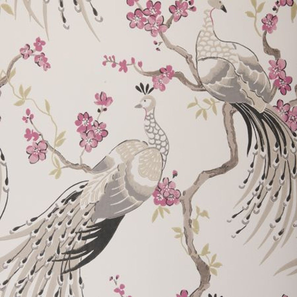 Clarke & Clarke Peacock Double Roll Wallpaper in Charcoal