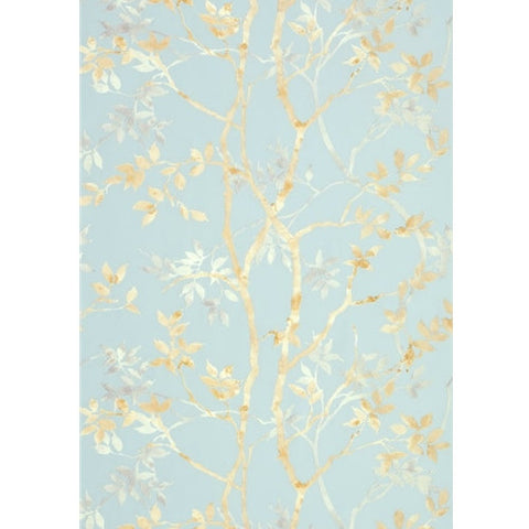 Tyndall Wallpaper in Neutral on Blue