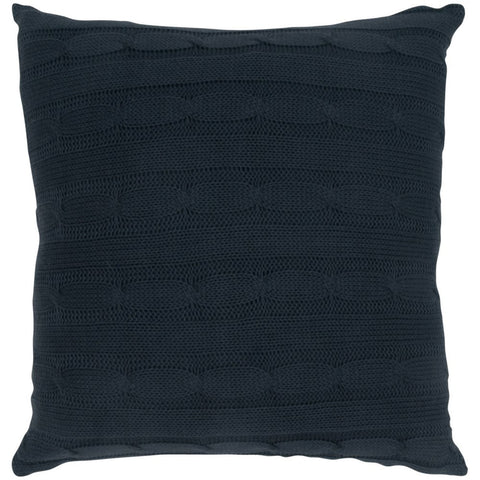 Cable Knit Pillow with Wooden Button Closure and Poly Filler Insert in Dark Gray