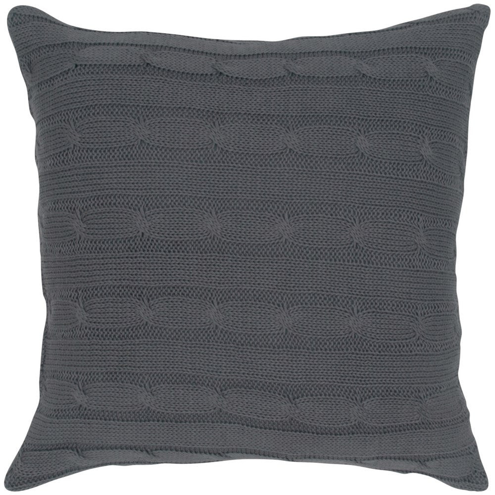 Cable Knit Pillow with Wooden Button Closure and Poly Filler Insert in Light Gray