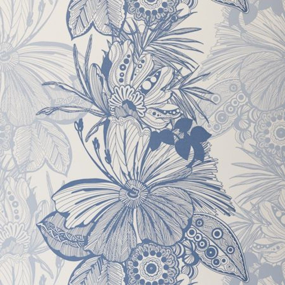 Clarke & Clarke Swag Double Roll Wallpaper in Blue