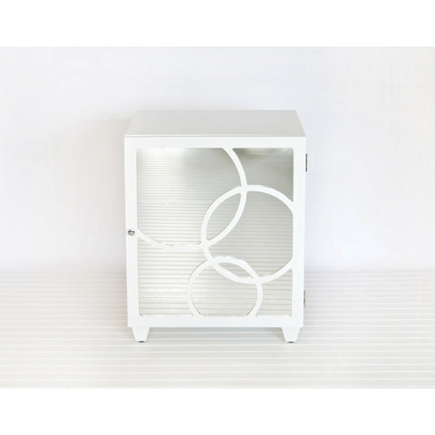 Worlds Away Leah Nightstand in White