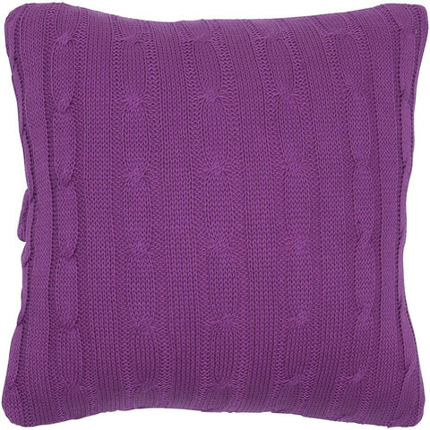 Cable Knit Pillow with Wooden Button Closure and Poly Filler Insert in Raspberry