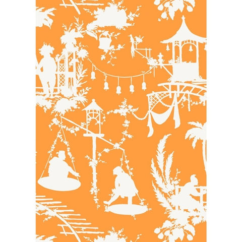 South Sea Wallpaper in Tangerine