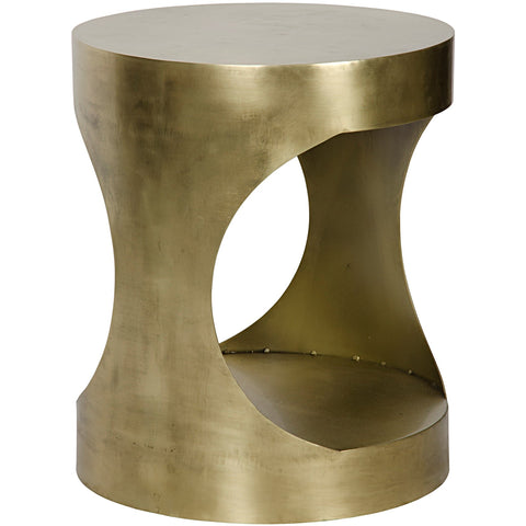 Eclipse Round Side Table, Antique Brass