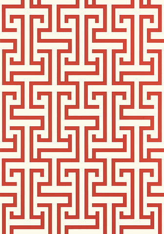 Ming Trail Trellis Wallpaper in Red