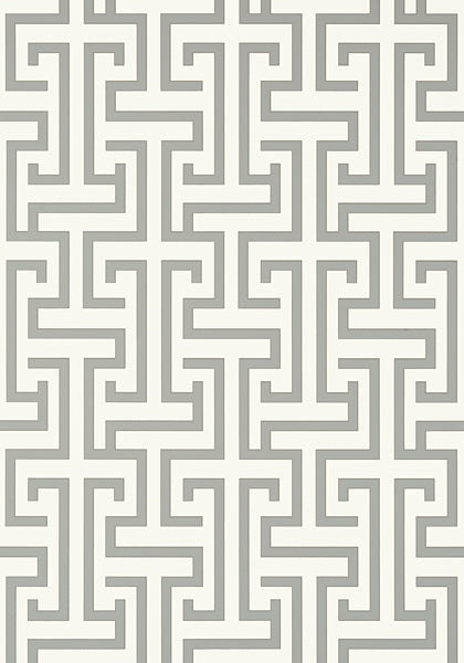 Ming Trail Trellis Wallpaper in Grey