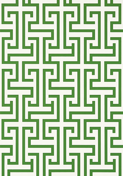Ming Trail Trellis Wallpaper in Green