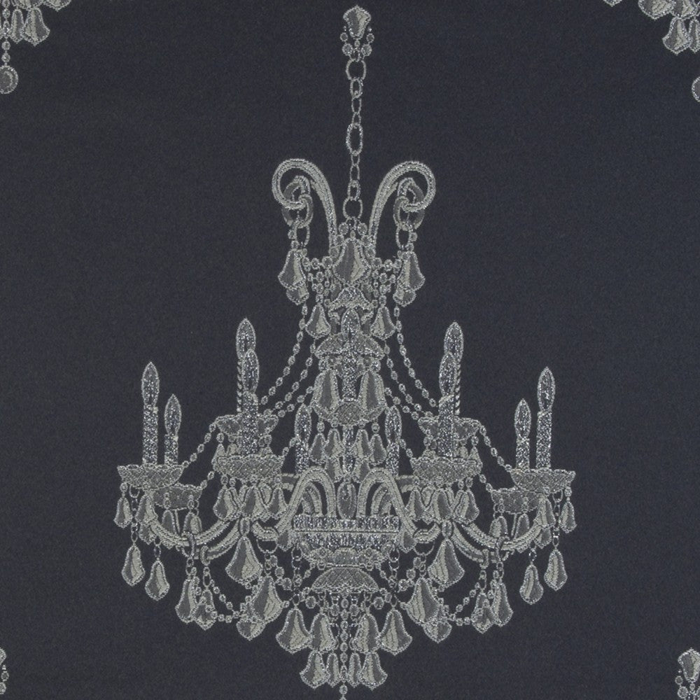 Clarke & Clarke Chandeliers Fabric in Black