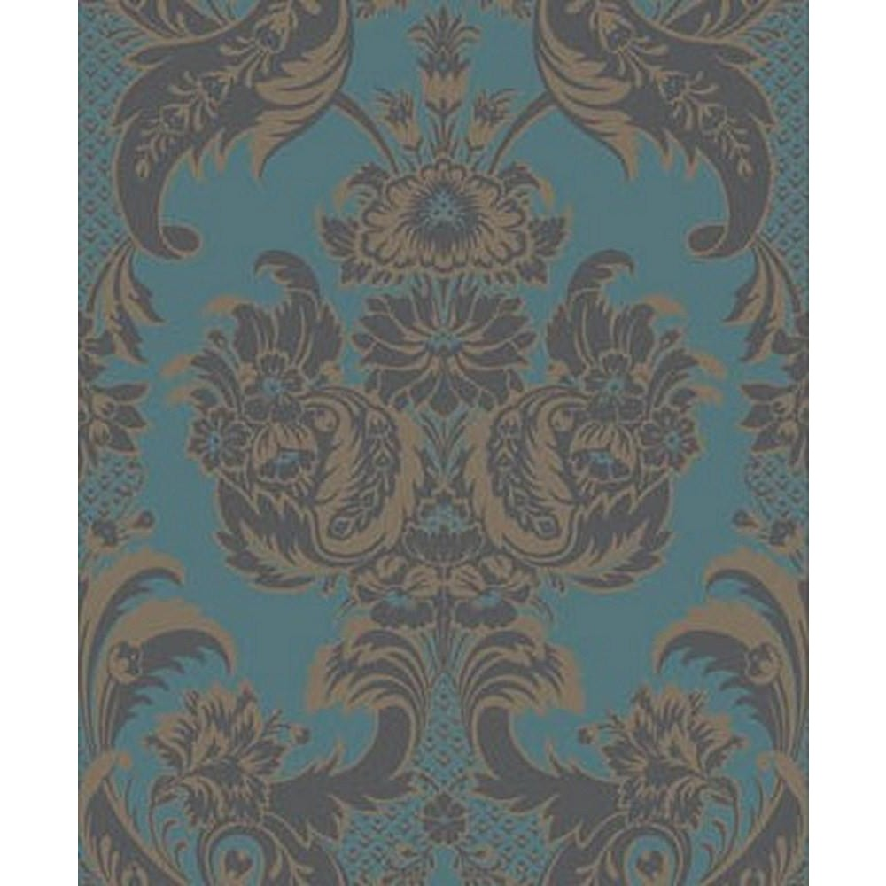 Cole And Son Wyndham Wallpaper in Teal/Charcoal