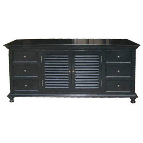 Noir Shutter Flat Screen TV Console, Hand Rubbed Black