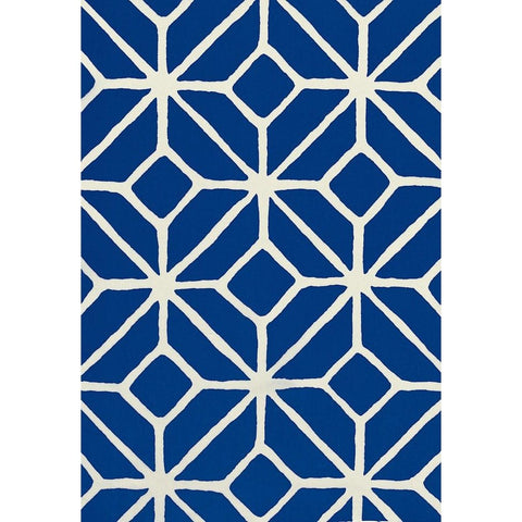 Schumacher Fabric by the Yard:  Trellis Print in Marine