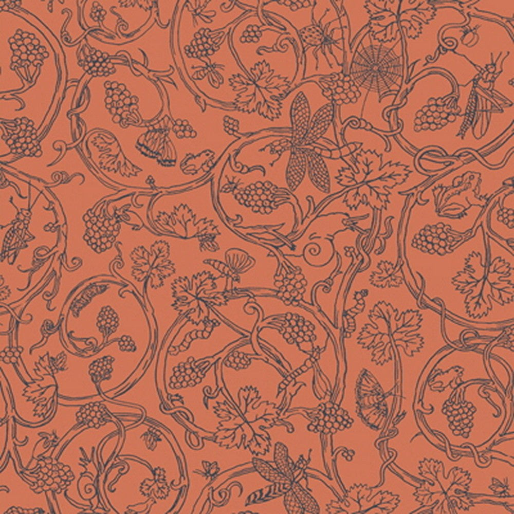 Cole And Son Bug & Vine Wallpaper in Rust