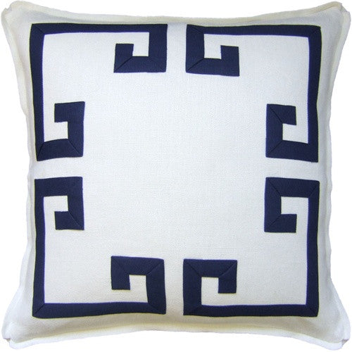 "Ryan Studio Aegean Fretwork 22"" Pillow In Ivory/New Indigo"