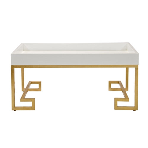 Worlds Away Conrad White Lacquer Tray with Greek Key Gold Leafed Base