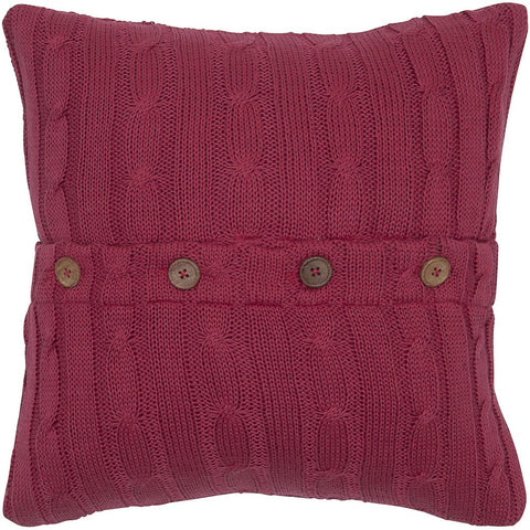 Cable Knit Pillow with Wooden Button Closure and Poly Filler Insert in Red