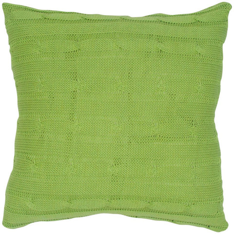 Cable Knit Pillow with Wooden Button Closure and Poly Filler Insert in Lime