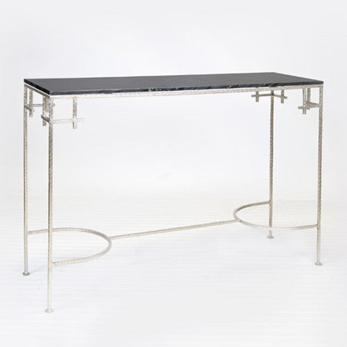 Worlds Away Marcy Silver Leafed Console W. Black Marble Top