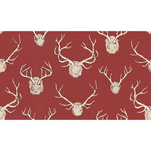 Kravet Fabric by the Yard:  Antlers in Red