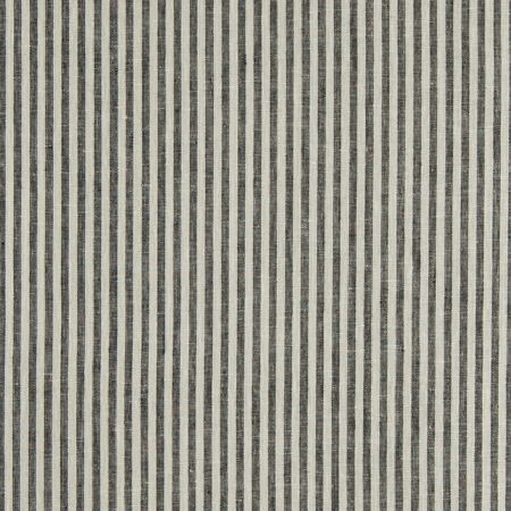 Clarke & Clarke Fabric by the Yard:  Bitty Linen Stripe in Charcoal