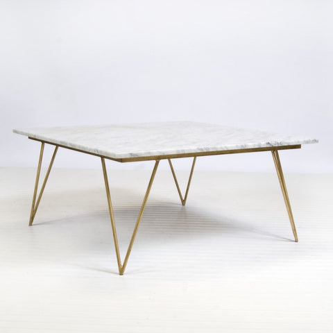 Worlds Away Neal Gold Leaf And White Marble Coffee Table
