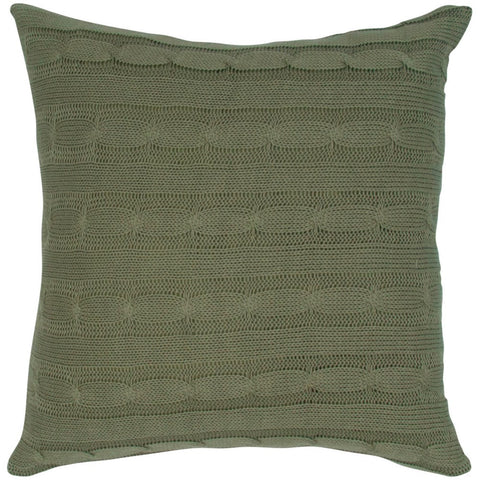 Cable Knit Pillow with Wooden Button Closure and Poly Filler Insert in Olive