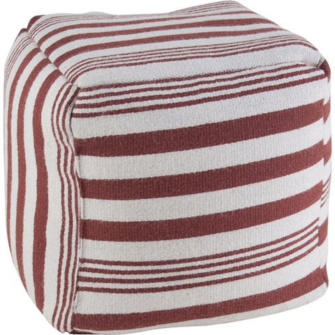 Rizzy Home Pouf in Rust and White Stripe