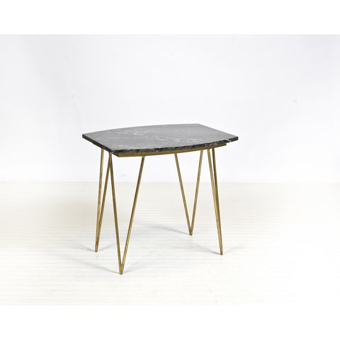 Worlds Away Suzy Gold Leaf And Black Marble Side Table
