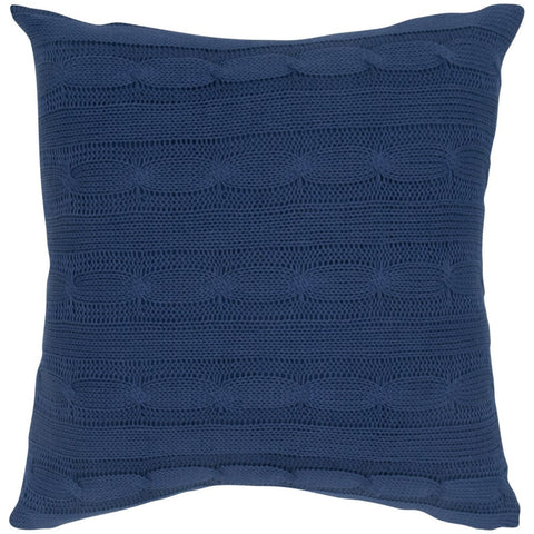 Cable Knit Pillow with Wooden Button Closure and Poly Filler Insert in Navy